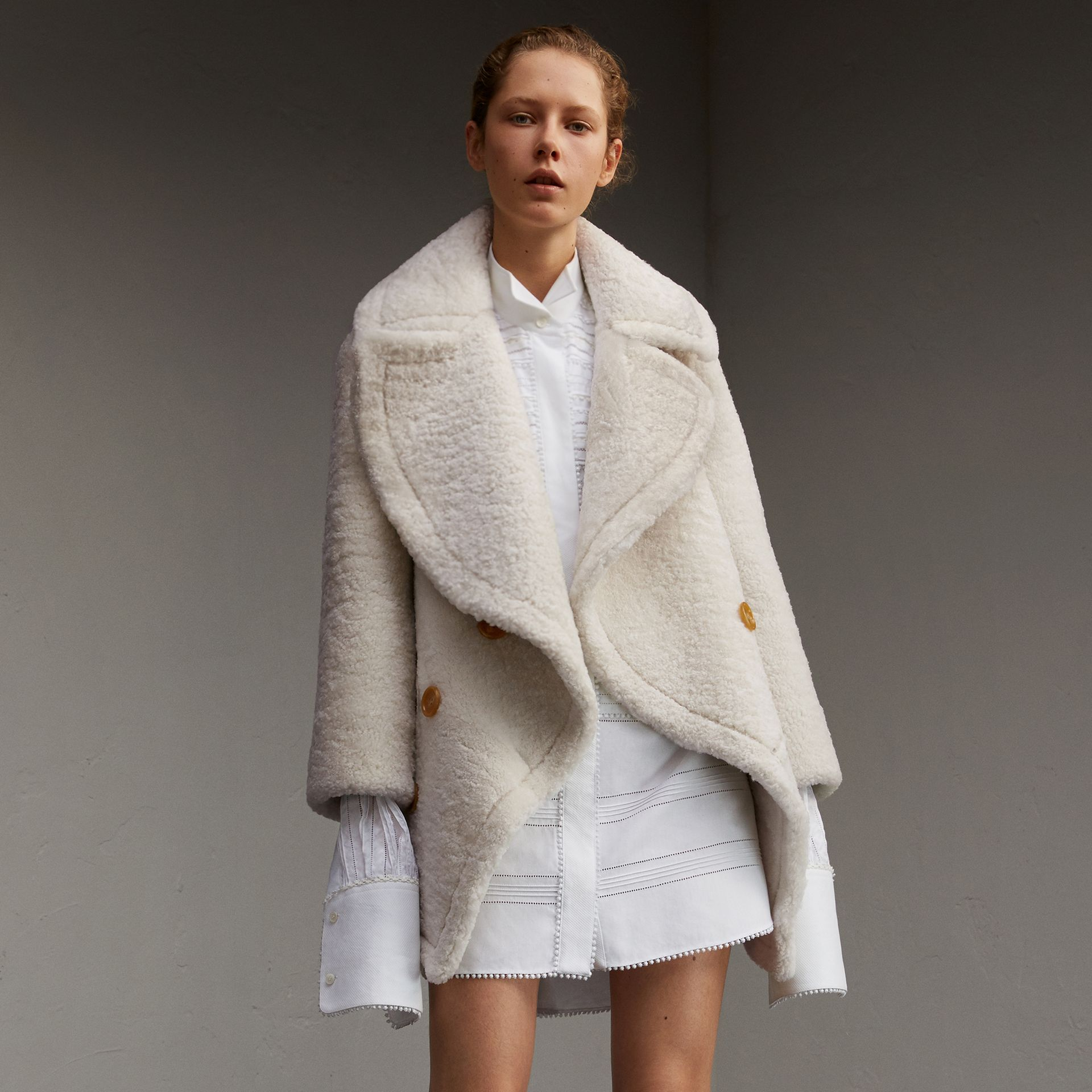 Oversize Collar Teddy Shearling Pea Coat in White - Women | Burberry - gallery image 1
