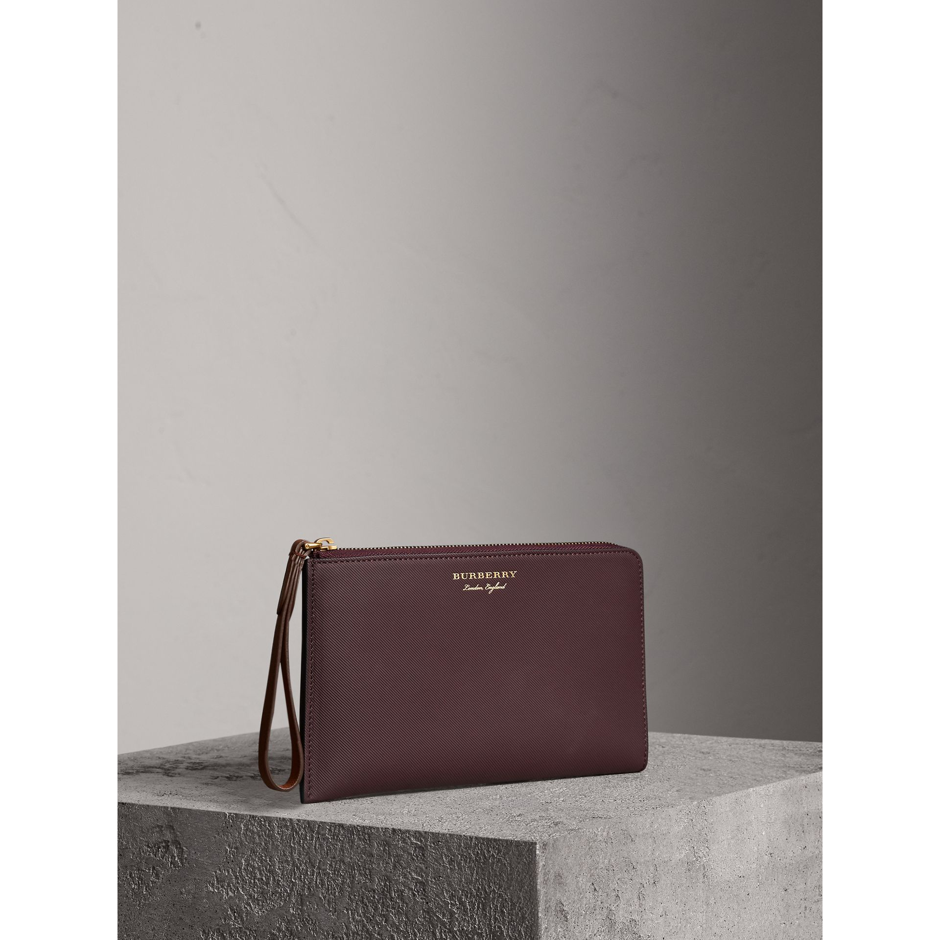 Two-tone Trench Leather Travel Wallet in Wine - Men | Burberry - gallery image 5