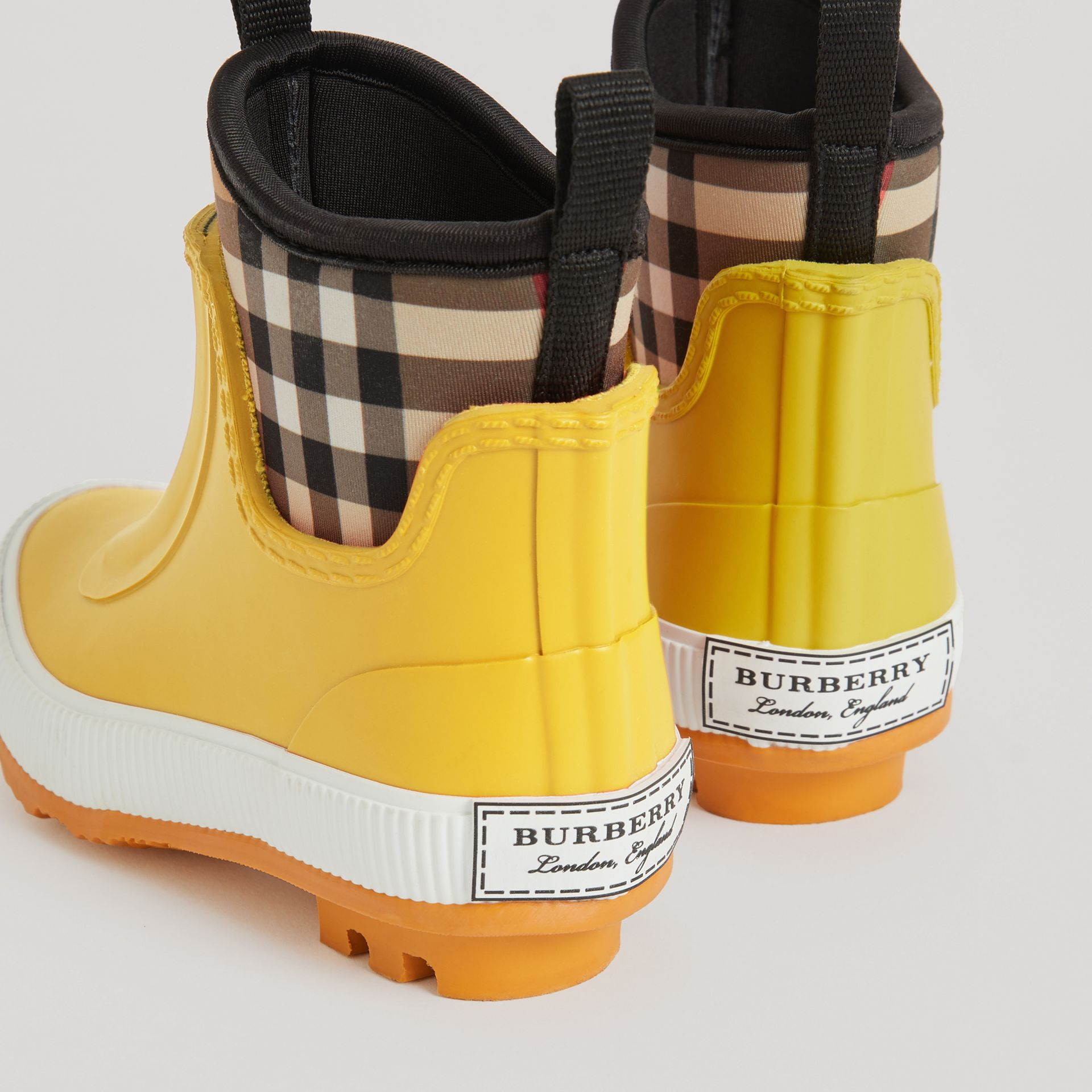Vintage Check Neoprene and Rubber Rain Boots in Vibrant Lemon | Burberry Australia - gallery image 2