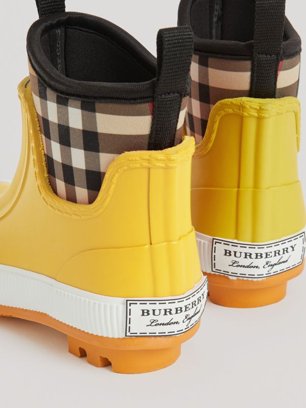 Vintage Check Neoprene and Rubber Rain Boots in Vibrant Lemon | Burberry - cell image 2