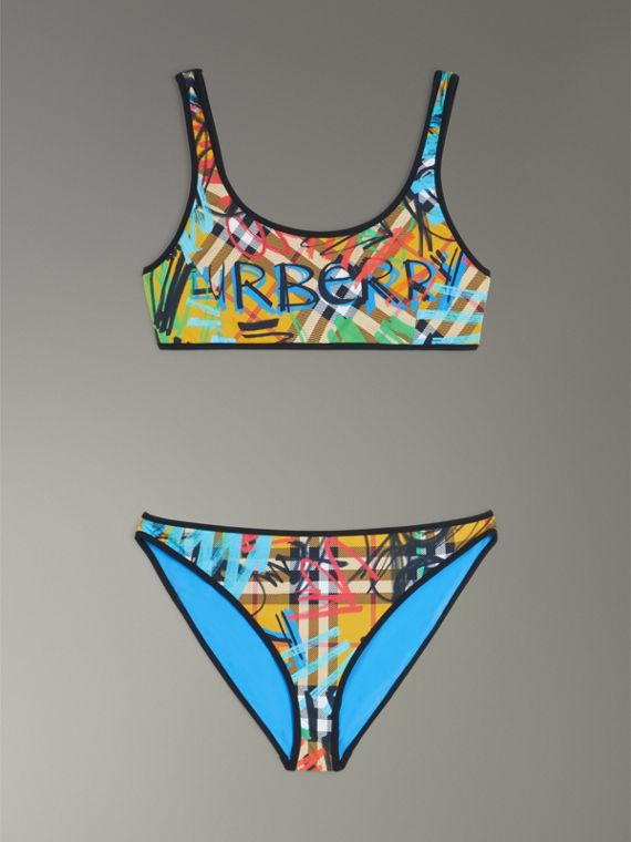 Graffiti Print Vintage Check Bikini in Amber Yellow