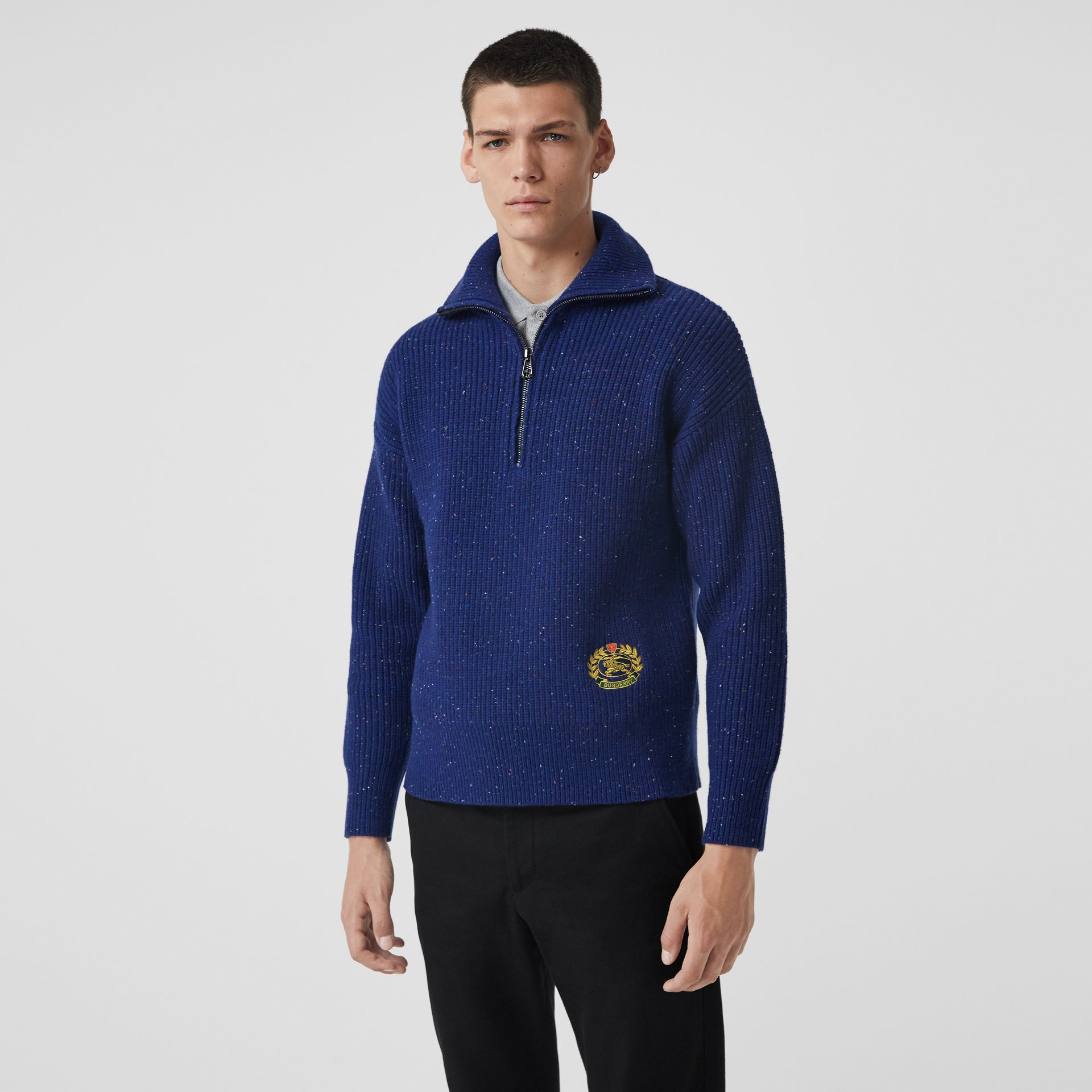 Rib Knit Wool Cashmere Blend Half-zip Sweater in Navy - Men | Burberry - gallery image 5