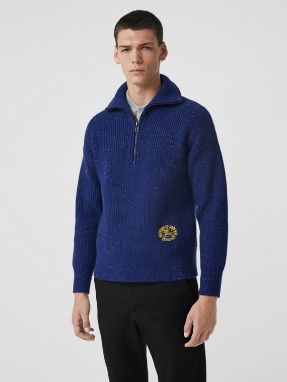 Rib Knit Wool Cashmere Blend Half-zip Sweater in Navy