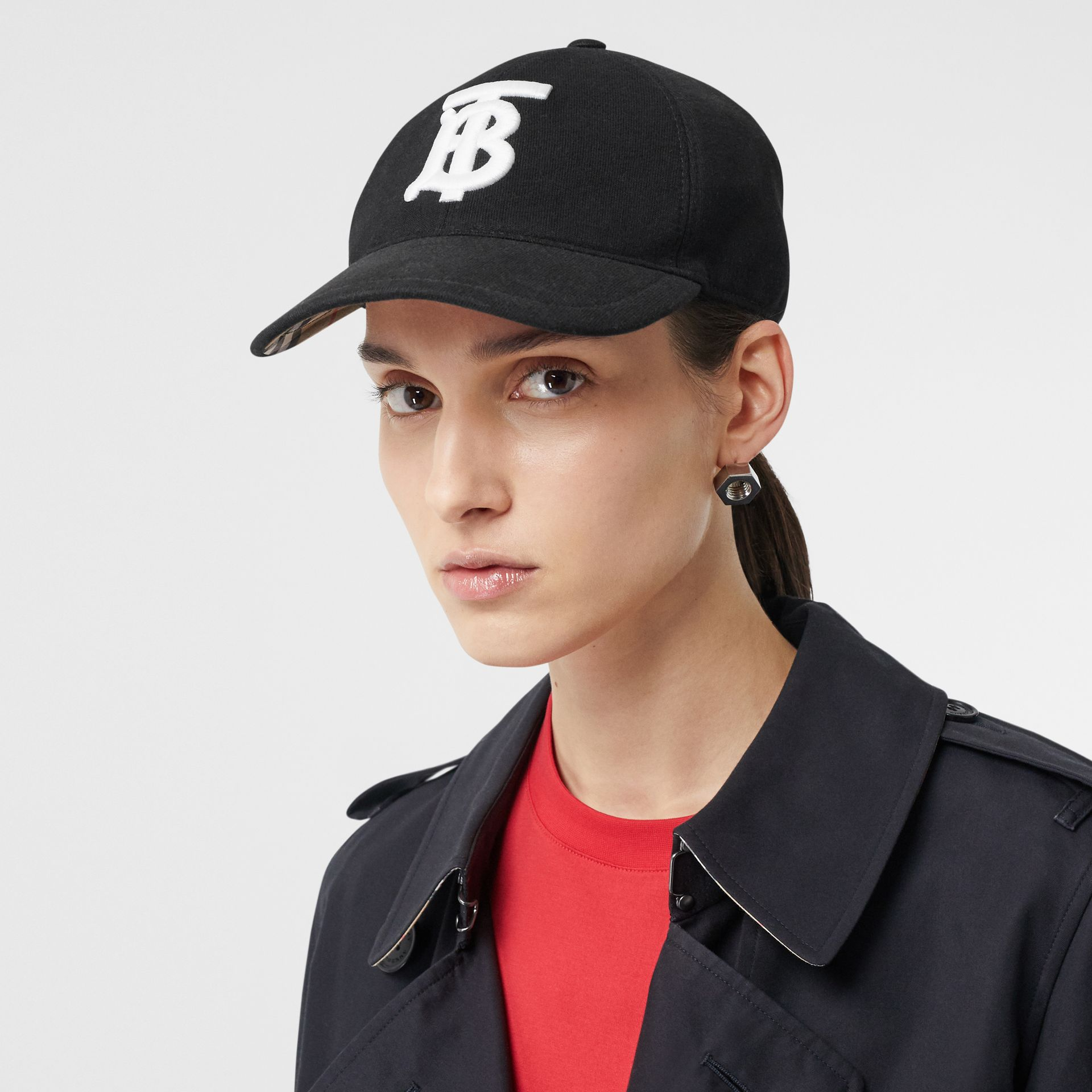 Monogram Motif Baseball Cap in Black | Burberry - gallery image 2