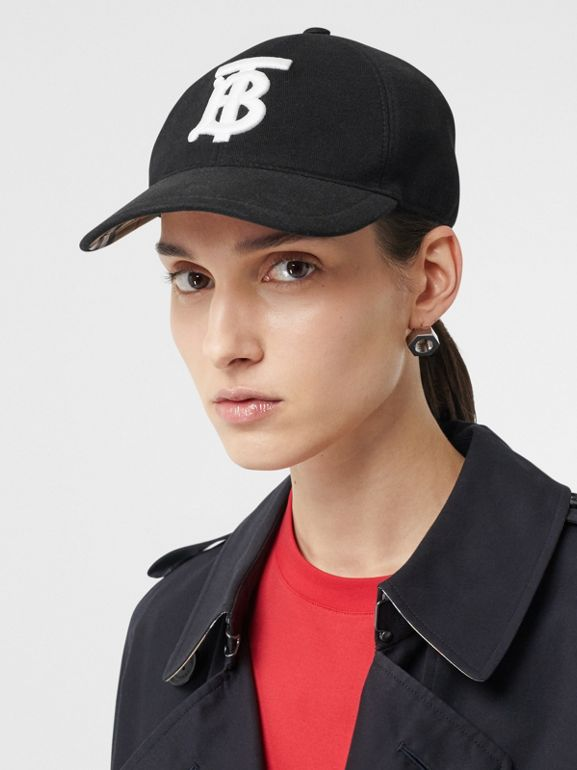 Monogram Motif Baseball Cap in Black | Burberry - cell image 1