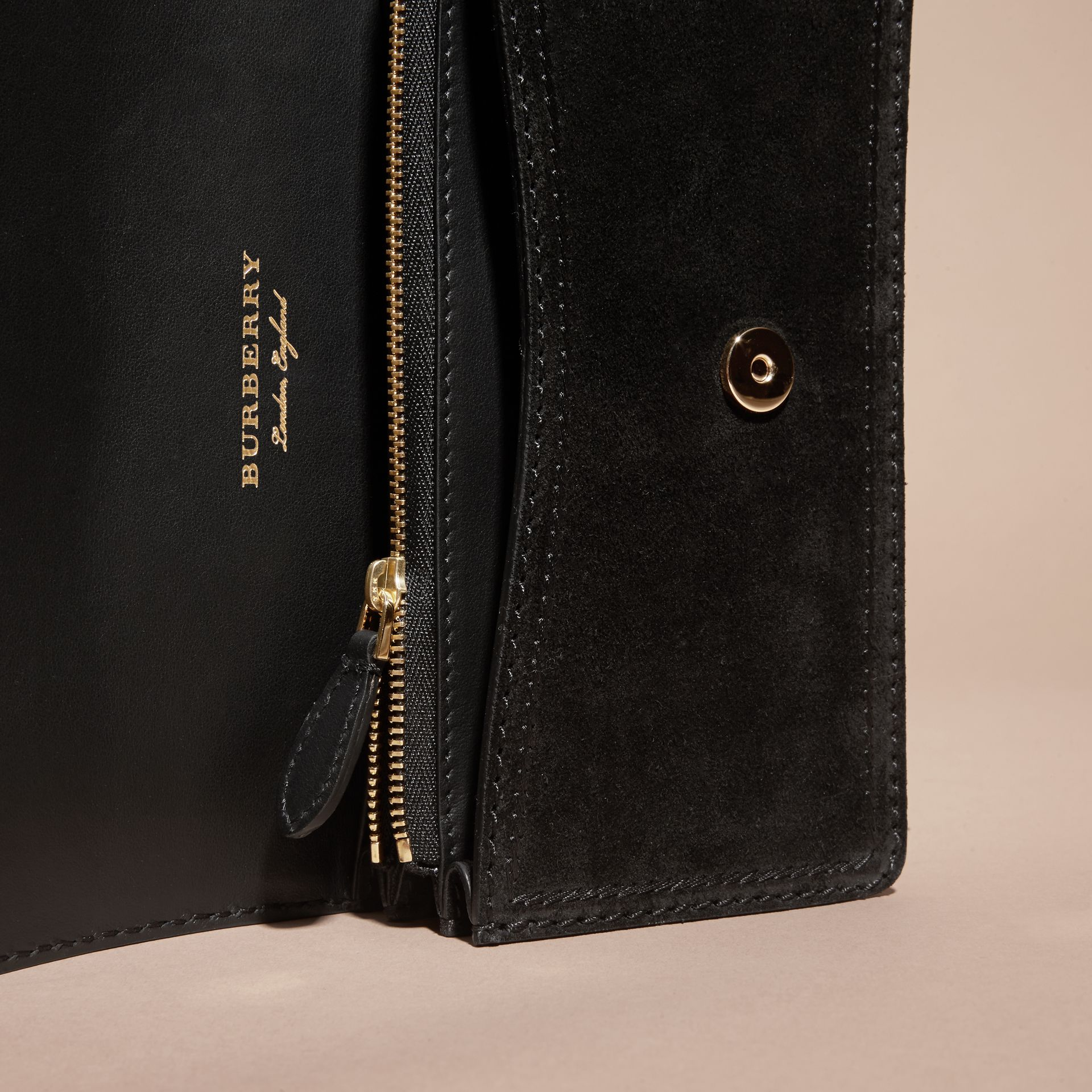 The Small Buckle Bag in Suede with Topstitching in Black / Tan - gallery image 6