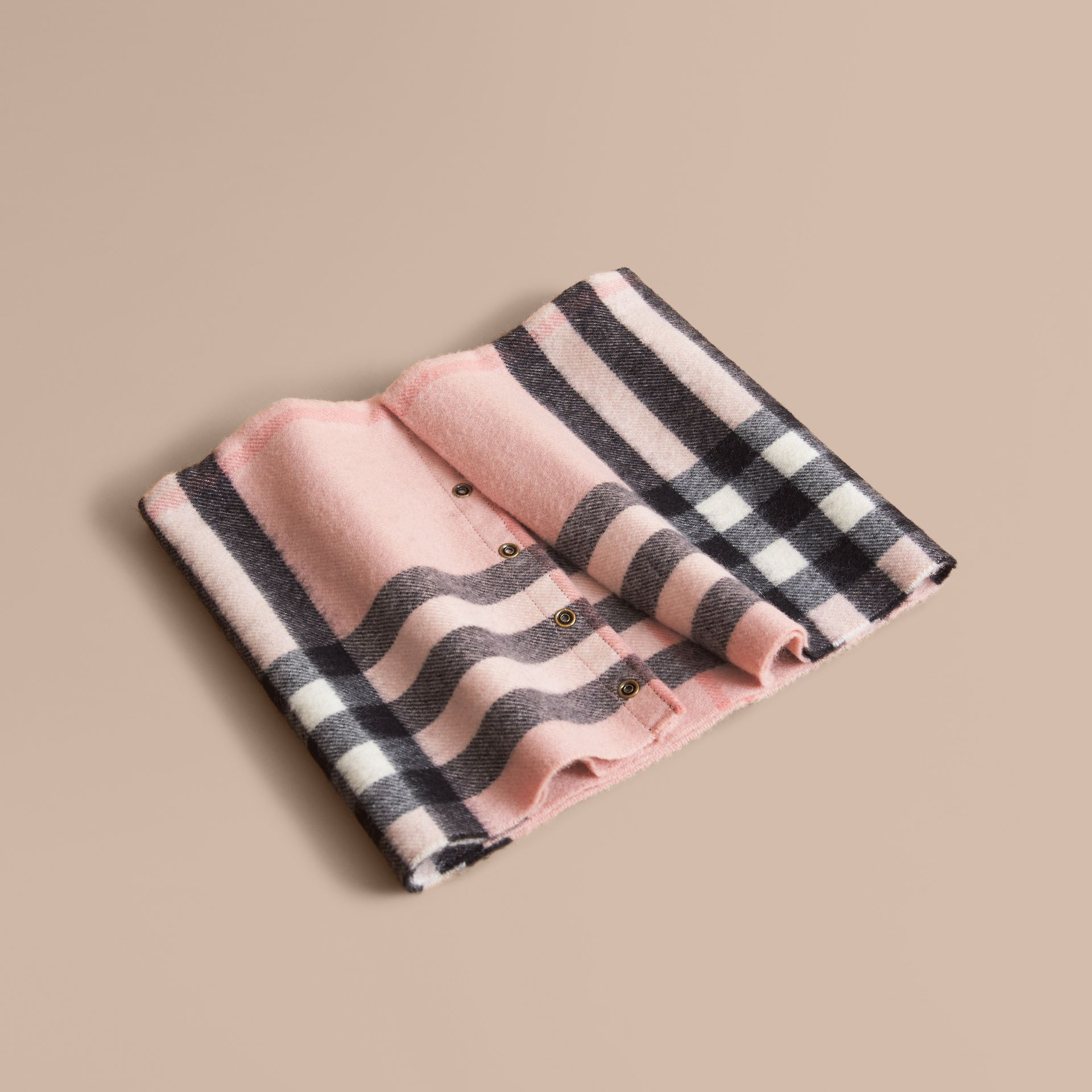 Exploded Check Cashmere Snood Rose - gallery image 1