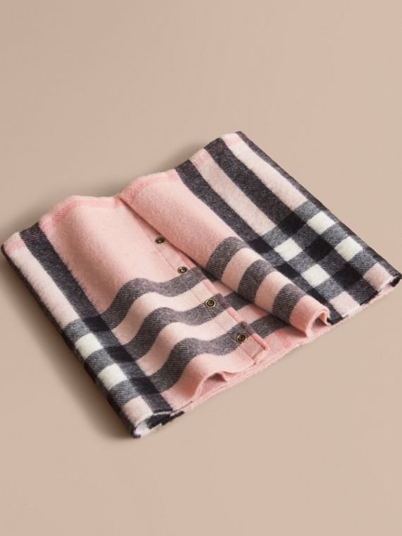 Exploded Check Cashmere Snood in Ash Rose