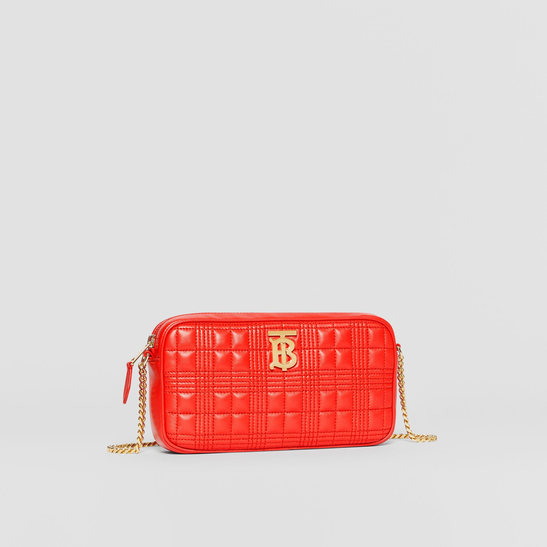 Quilted Check Lambskin Camera Bag in Bright Red - Women | Burberry - gallery image 6