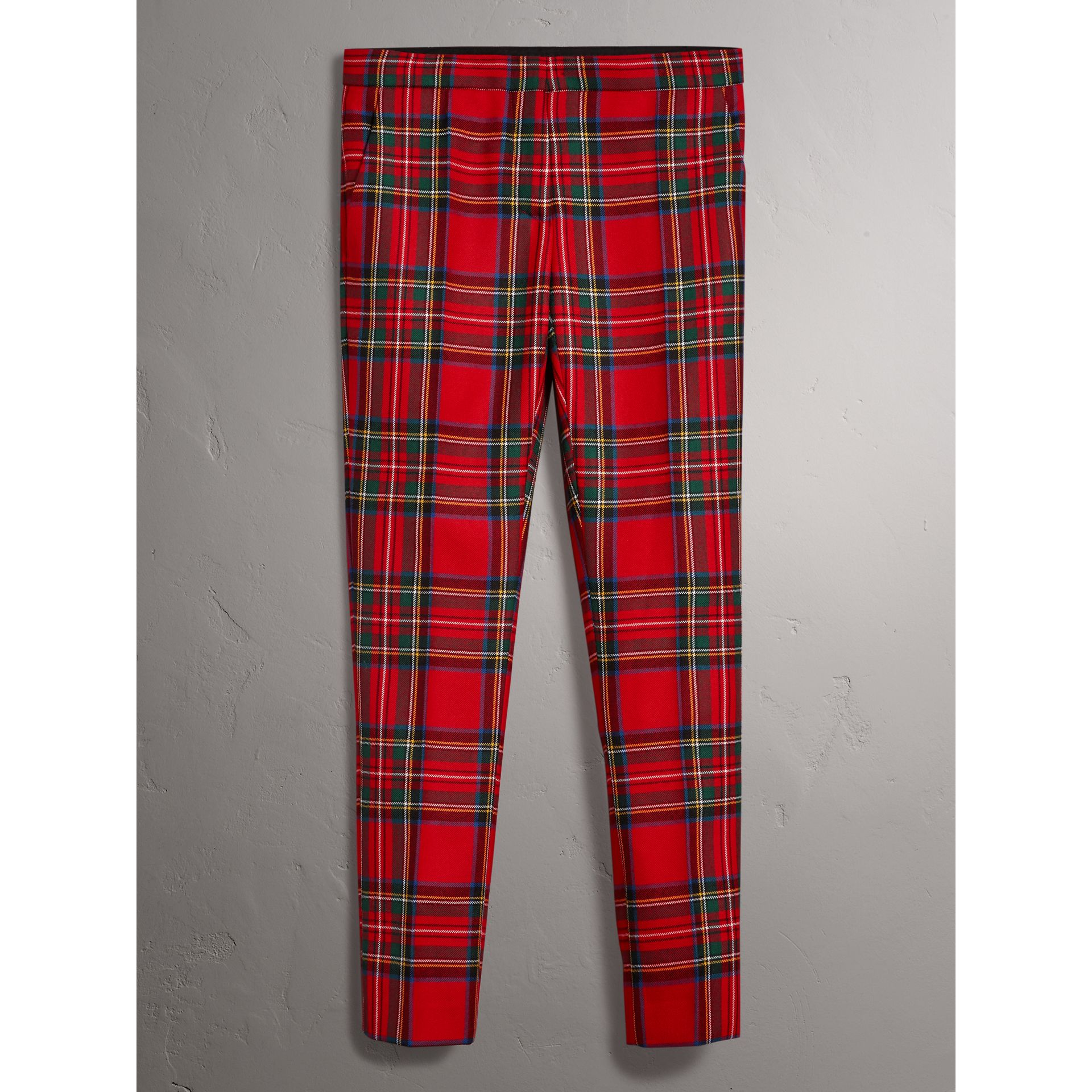 Tartan Wool Tailored Trousers in Bright Red - Women | Burberry - gallery image 3