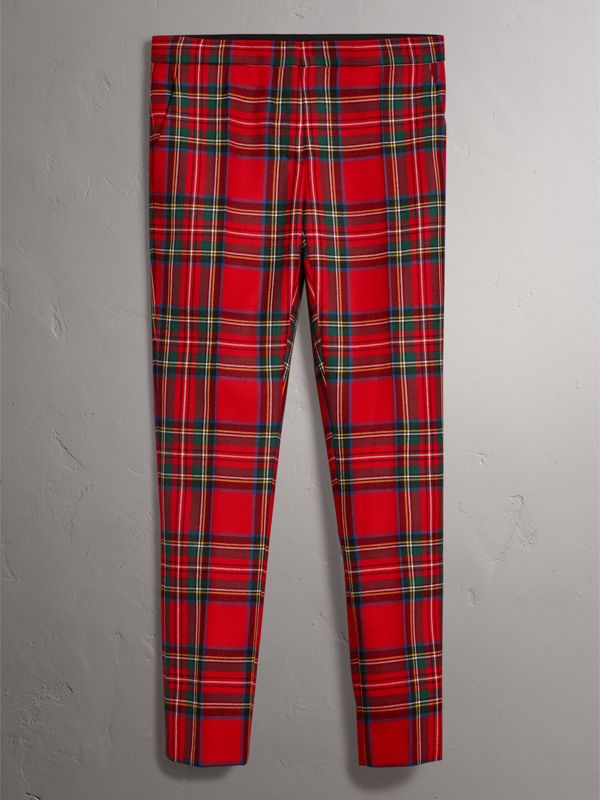Tartan Wool Tailored Trousers in Bright Red - Women | Burberry - cell image 3