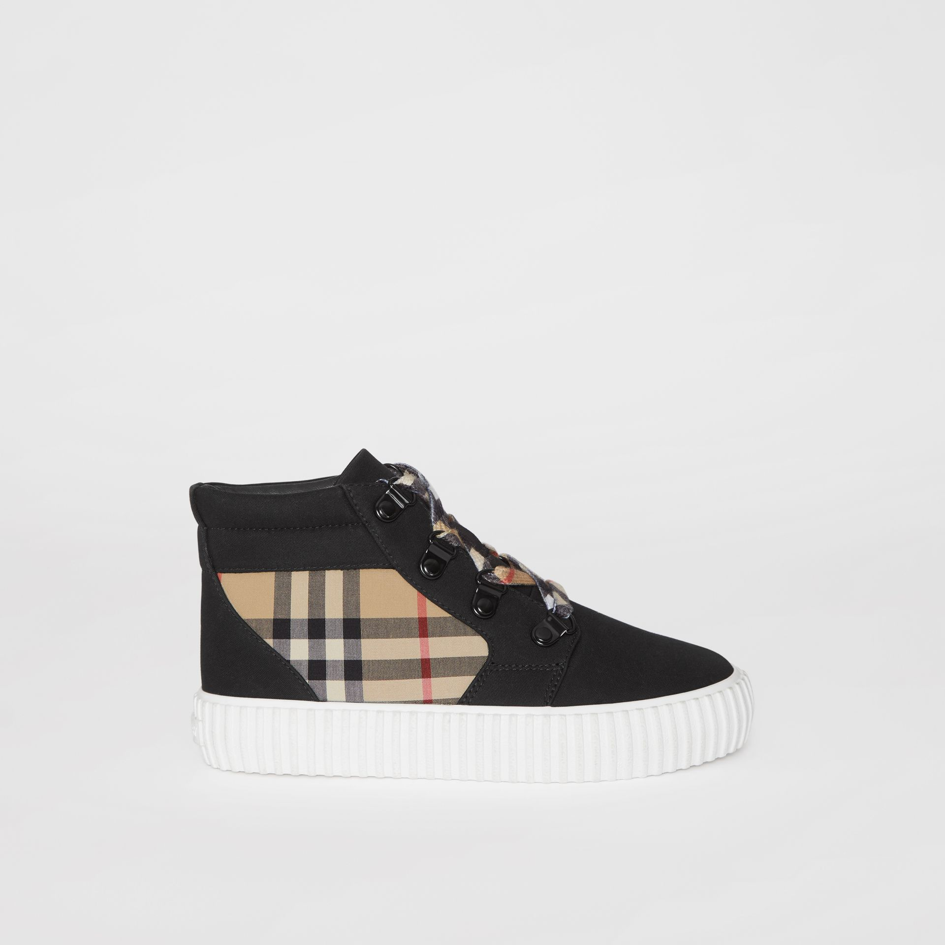 Vintage Check Detail High-top Sneakers in Archive Beige/black - Children | Burberry Australia - gallery image 3