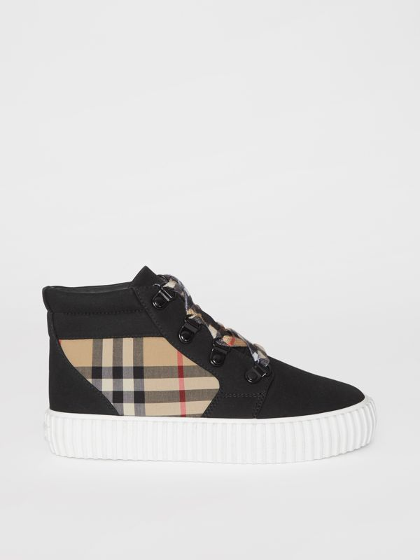 Vintage Check Detail High-top Sneakers in Archive Beige/black - Children | Burberry Australia - cell image 3
