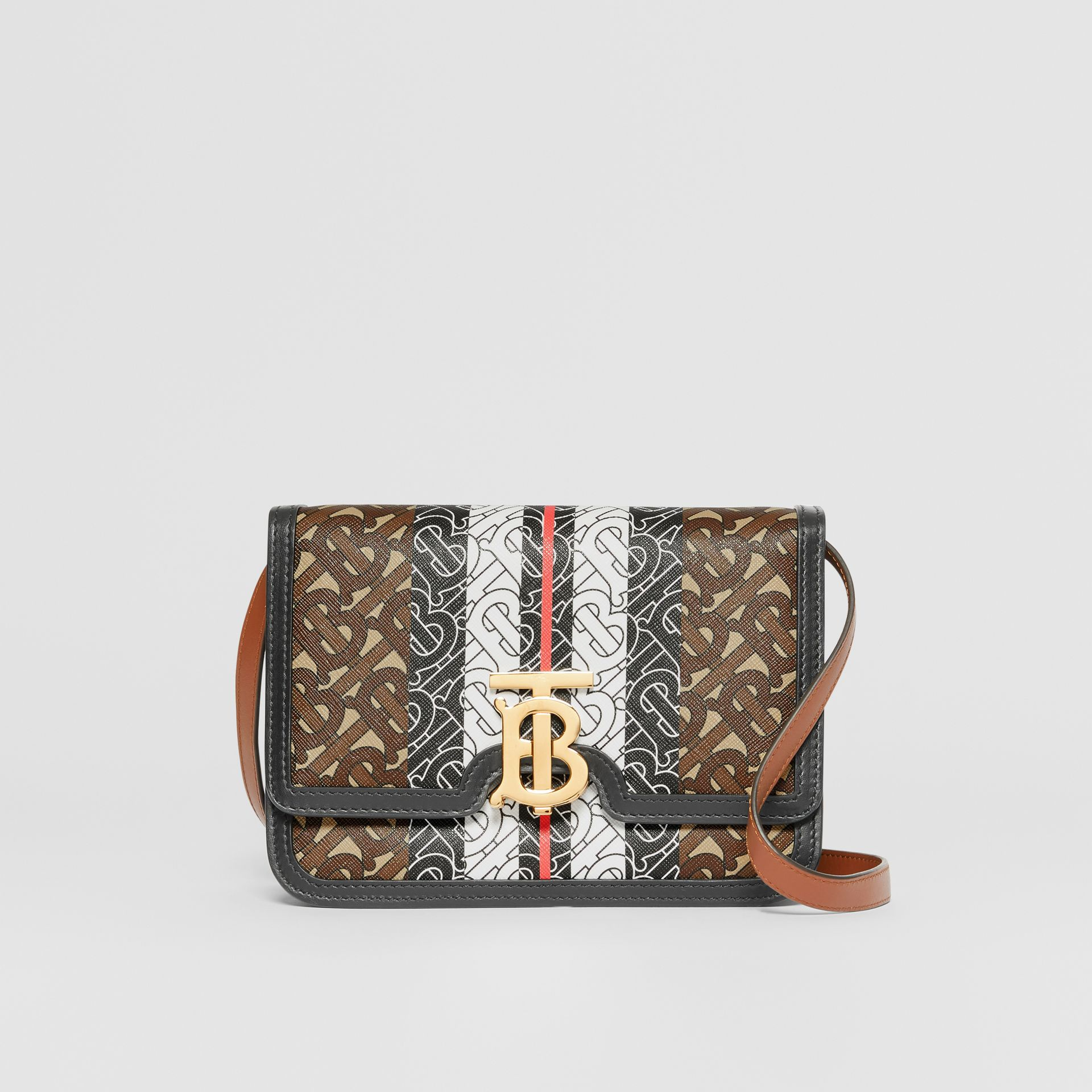 Small Monogram Stripe E-canvas TB Bag in Bridle Brown - Women | Burberry - gallery image 0