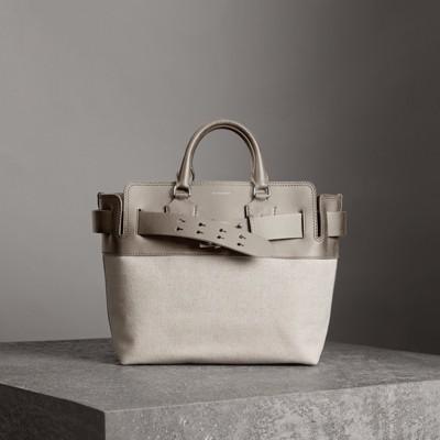 Canvas And Grey Leather Medium Belt Bag, Grey/Stone