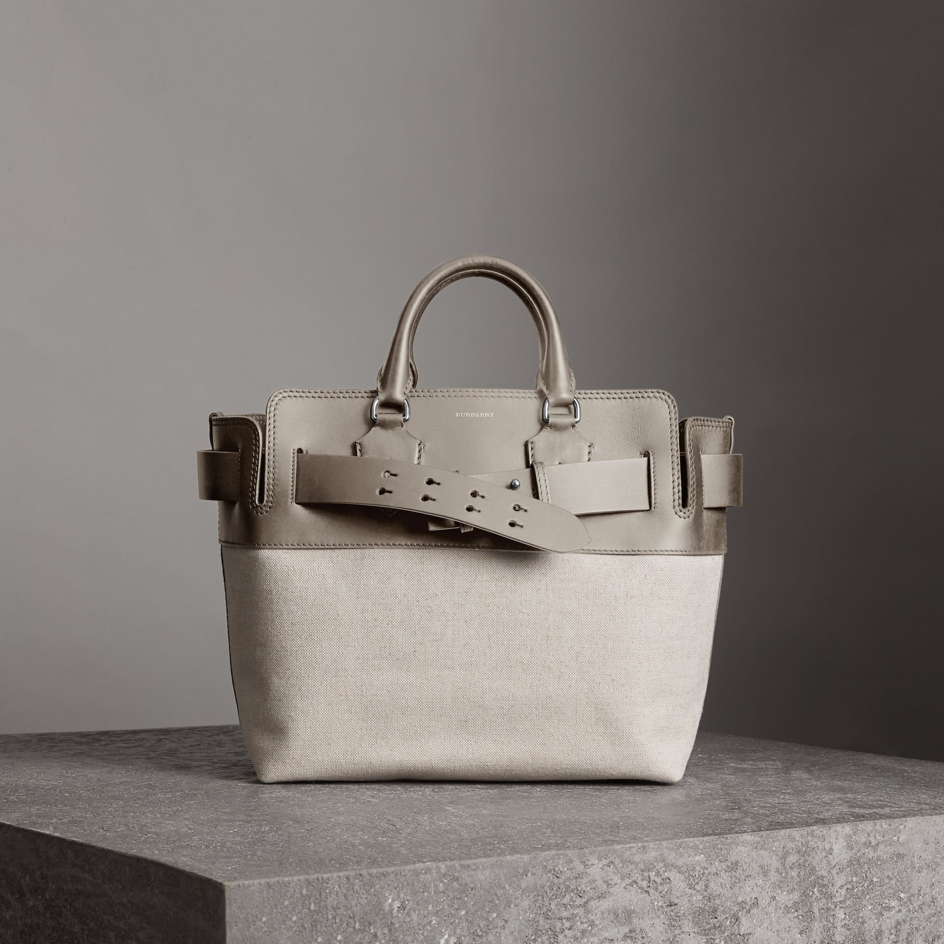 The Medium Canvas and Leather Belt Bag in Grey/stone - Women | Burberry United States - gallery image 0