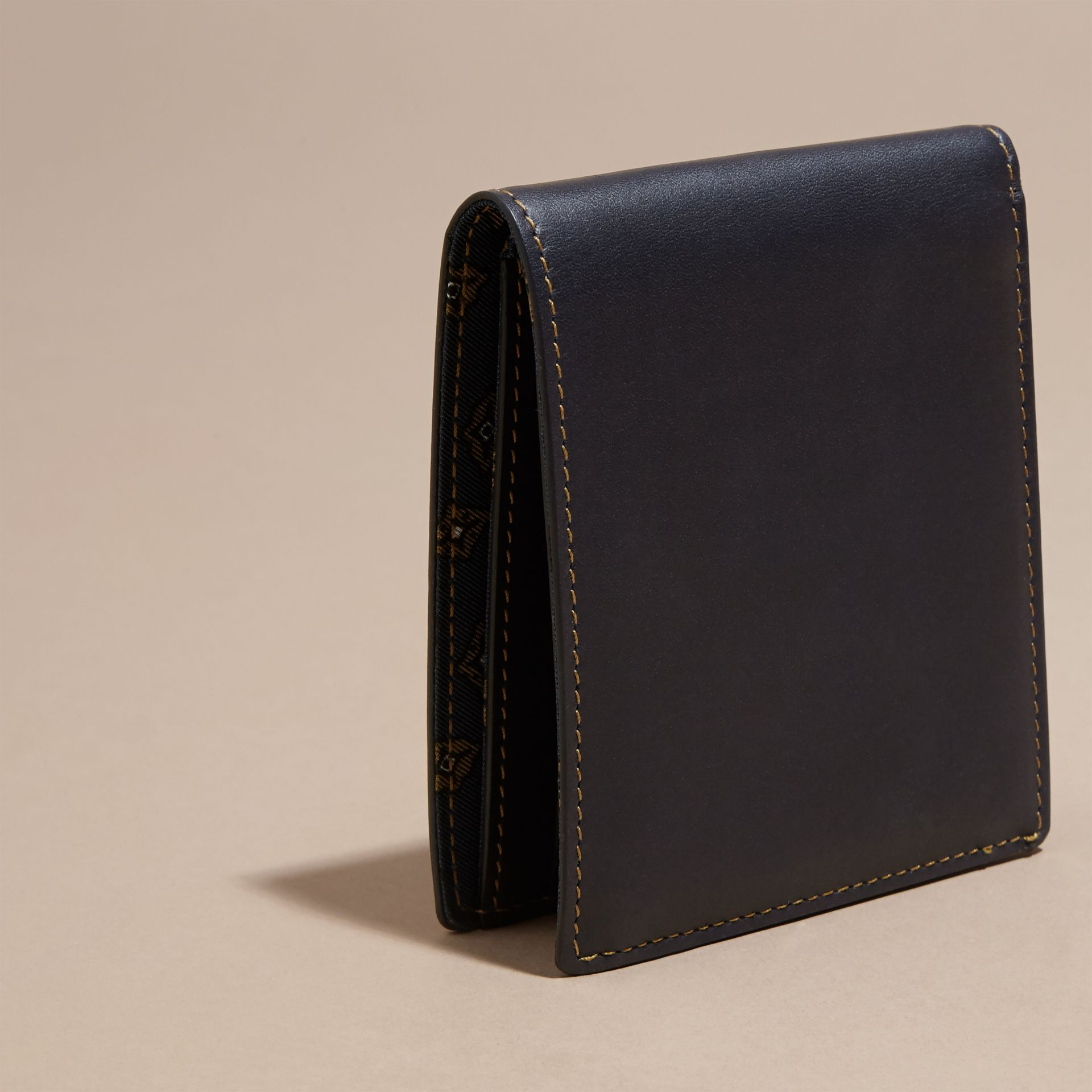 Dark navy Smooth Leather Folding Wallet Dark Navy - gallery image 4
