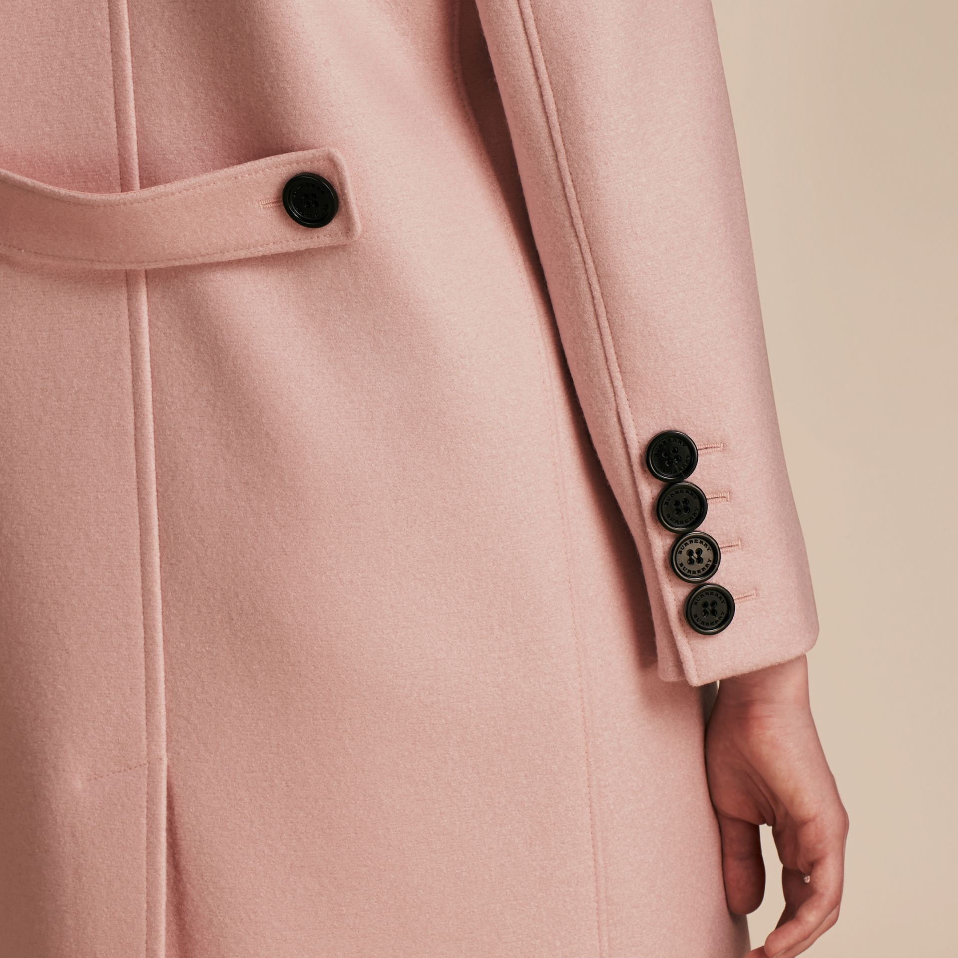 Chalk pink Boiled Wool Tailored Coat - gallery image 6