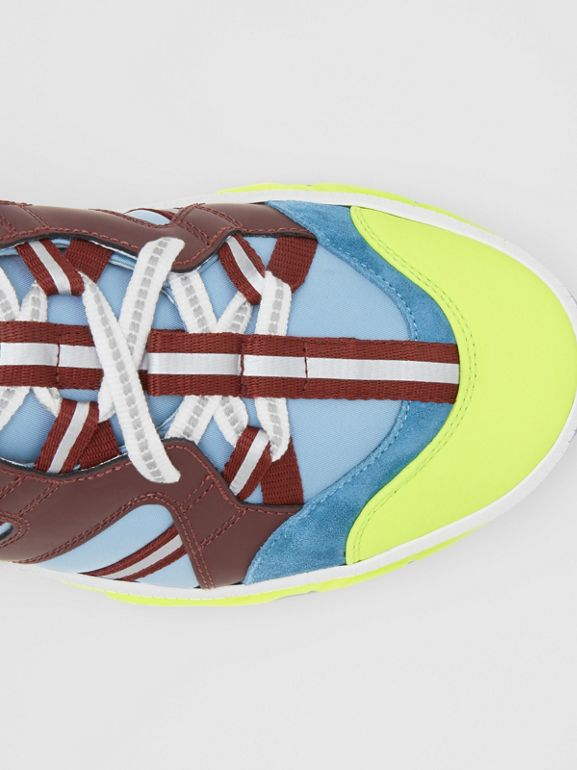 Nylon, Nubuck and Suede Union Sneakers in Blue/burgundy - Men | Burberry Canada - cell image 1