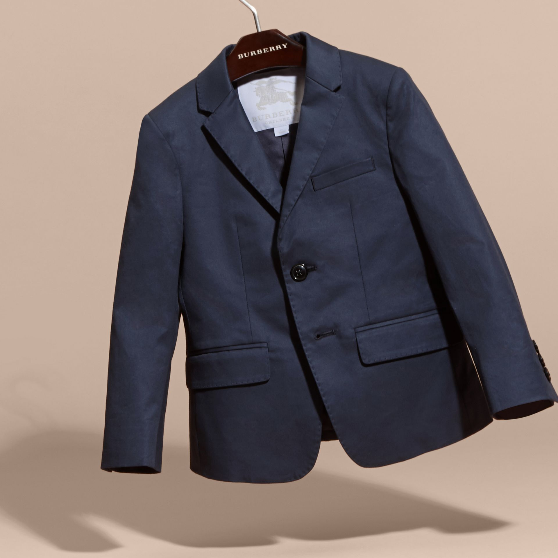 Tailored Stretch Cotton Blazer in Navy - Boy | Burberry Canada - gallery image 3