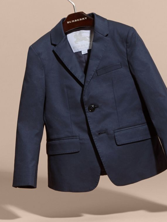 Tailored Stretch Cotton Blazer in Navy - Boy | Burberry Canada - cell image 2