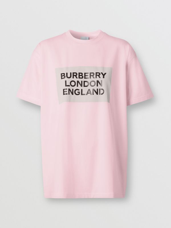 Logo Print Stretch Cotton Oversized T-shirt in Cloud Pink - Women | Burberry - cell image 3