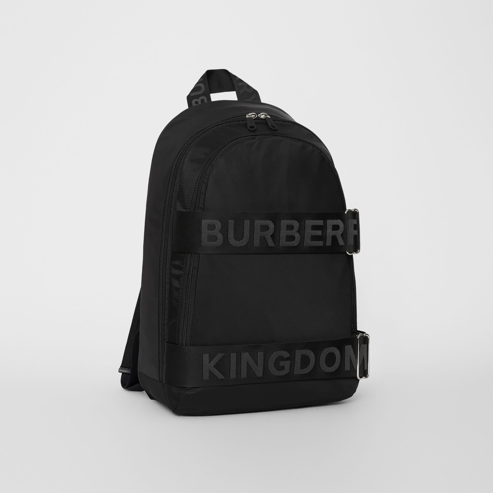 Large Logo Detail Nylon Backpack in Black - Men | Burberry Australia - gallery image 6