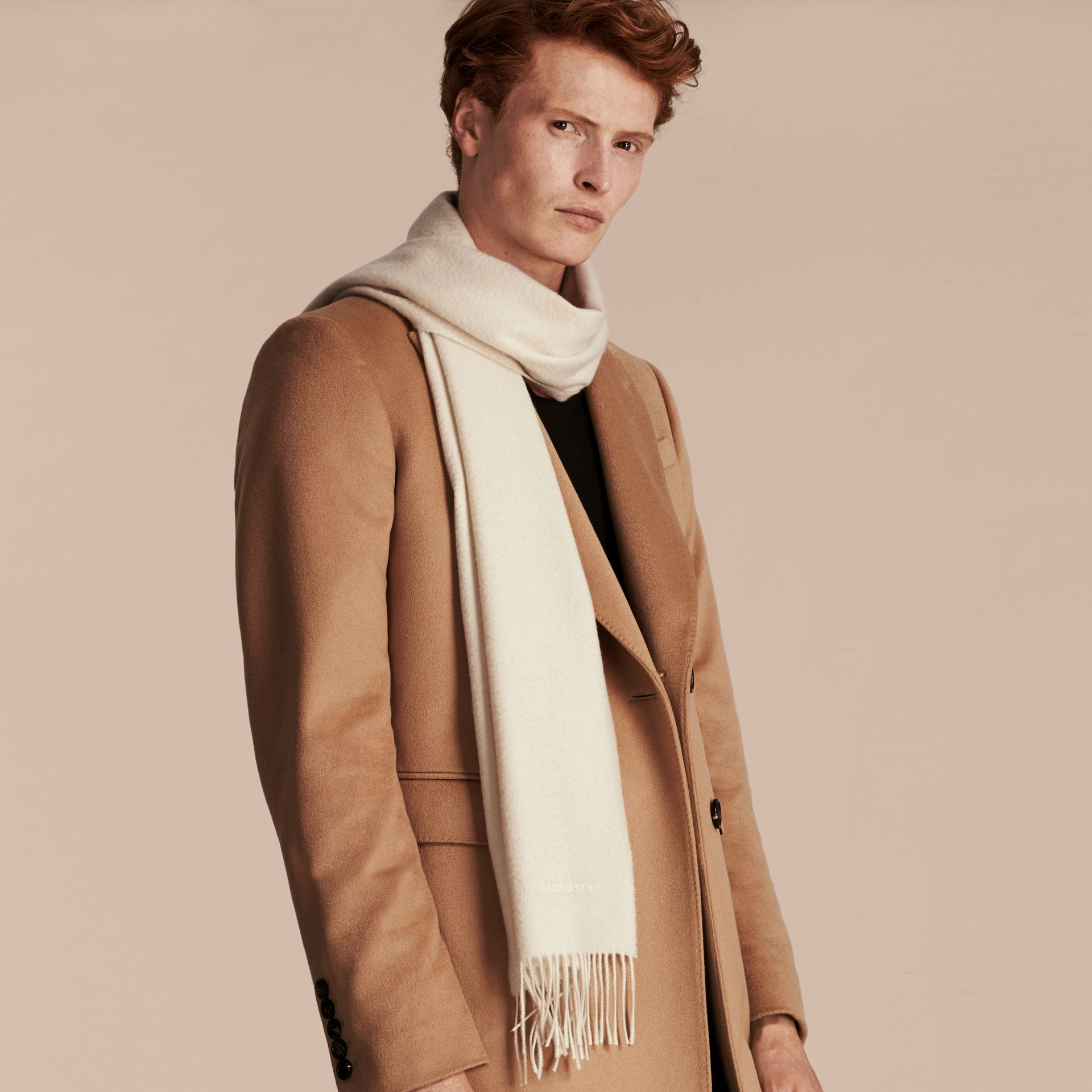 The Classic Cashmere Scarf in Natural White - gallery image 4