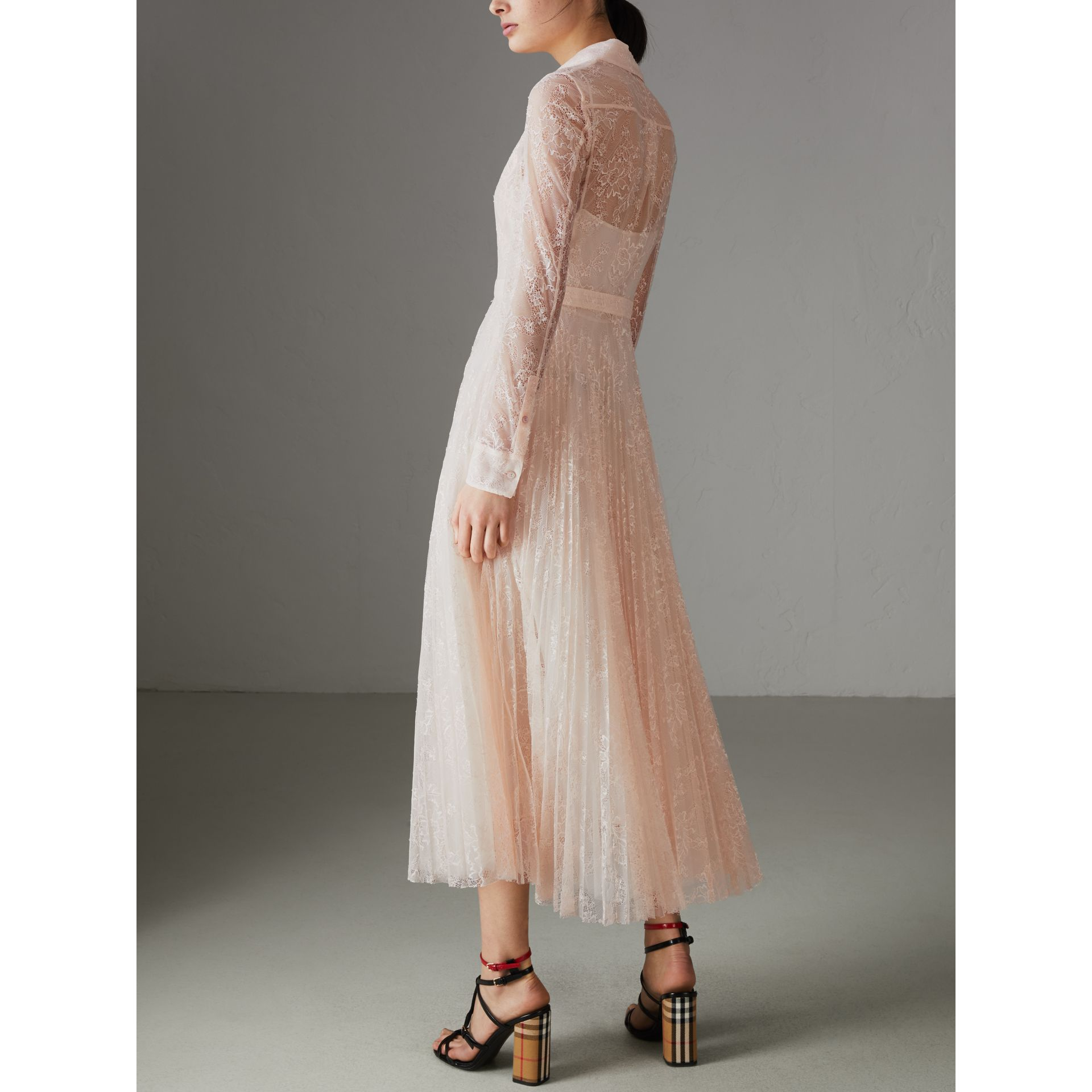 Pleated Lace Dress in Powder Pink - Women | Burberry - gallery image 2