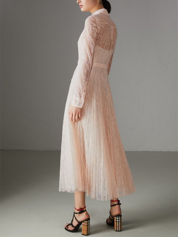 Pleated Lace Dress in Powder Pink - Women | Burberry - cell image 2