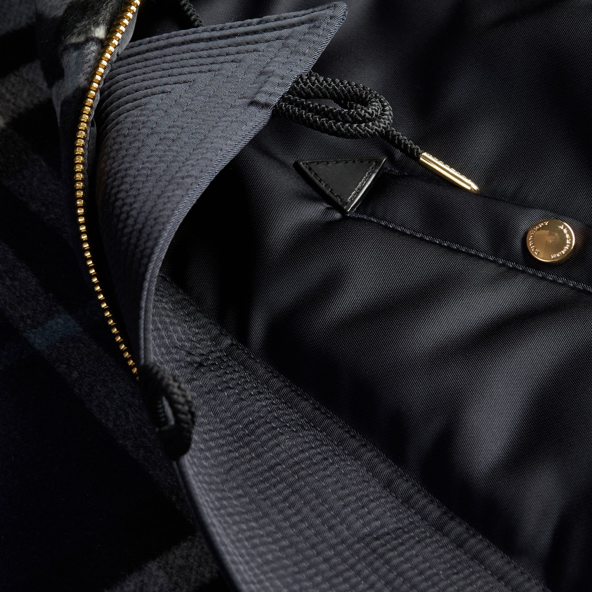Navy Hooded Parka with Detachable Raccoon Trim - gallery image 2