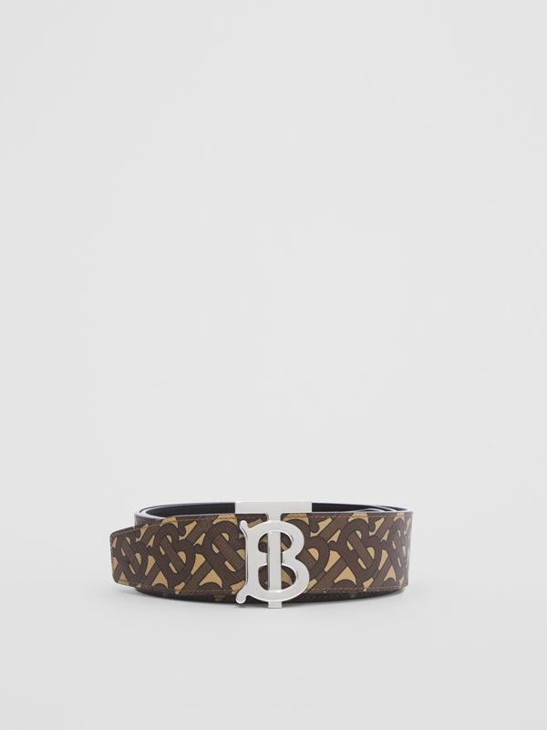 Reversible Monogram Print E-canvas and Leather Belt in Bridle Brown - Men | Burberry United Kingdom - cell image 2