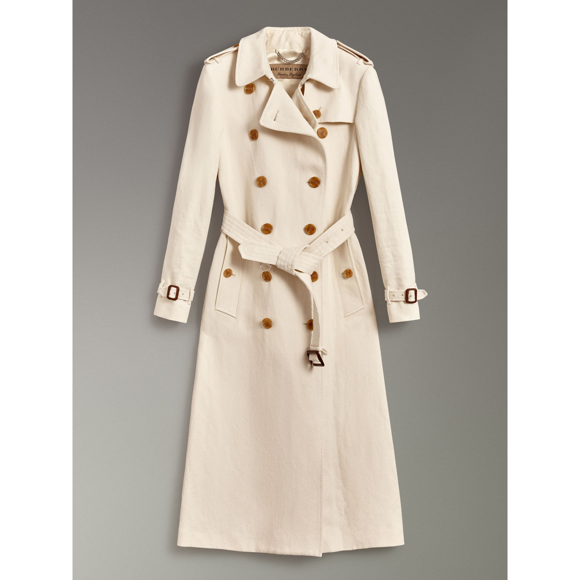 Cotton Linen Canvas Trench Coat in Off White - Women | Burberry - gallery image 3