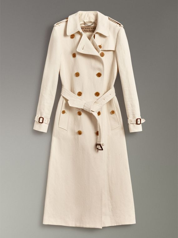 Trench coat in tela di cotone e lino (Bianco Sporco) - Donna | Burberry - cell image 3