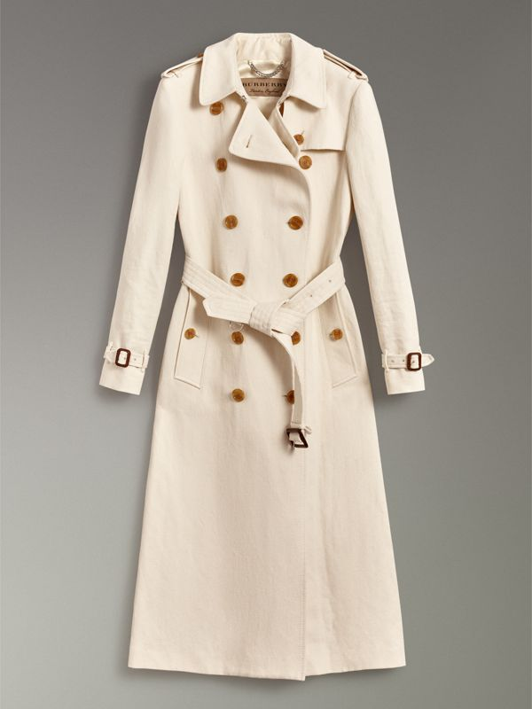 Cotton Linen Canvas Trench Coat in Off White - Women | Burberry - cell image 3