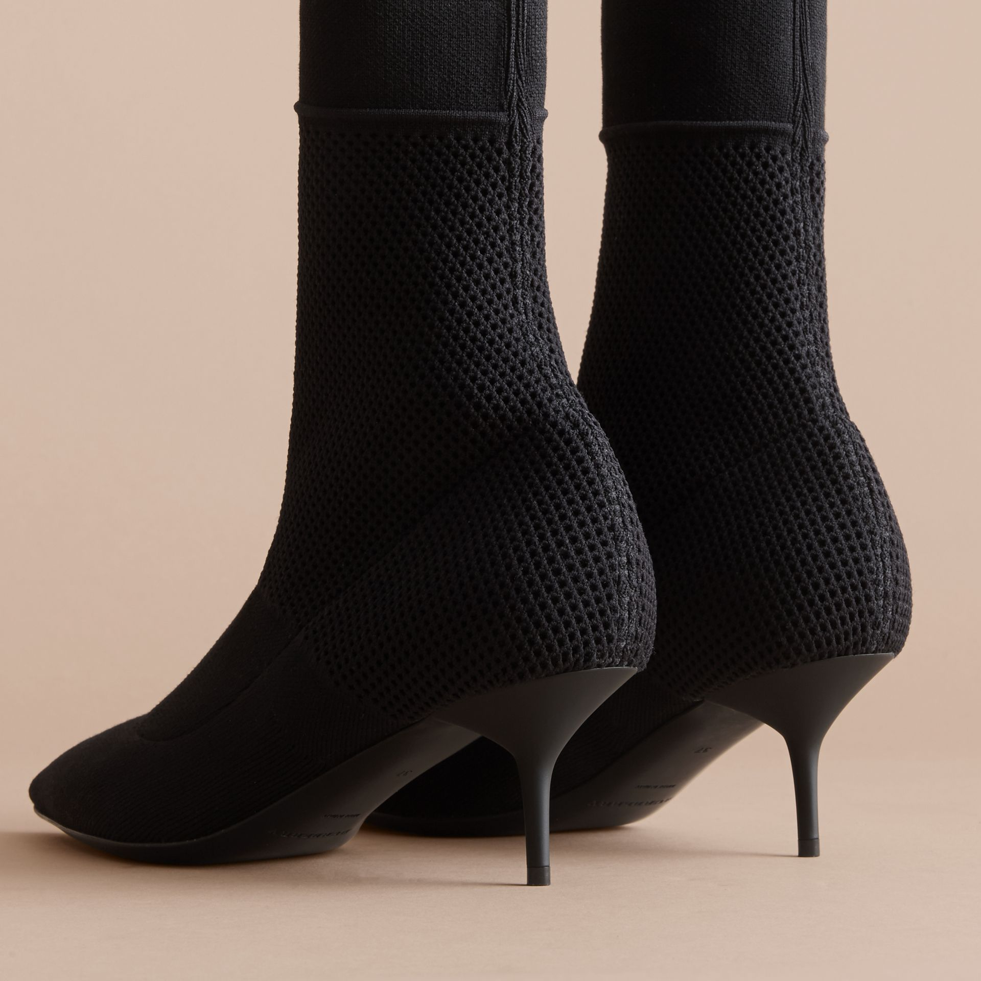 Mid-calf Knitted Mesh Detail Boots in Black - Women | Burberry - gallery image 3