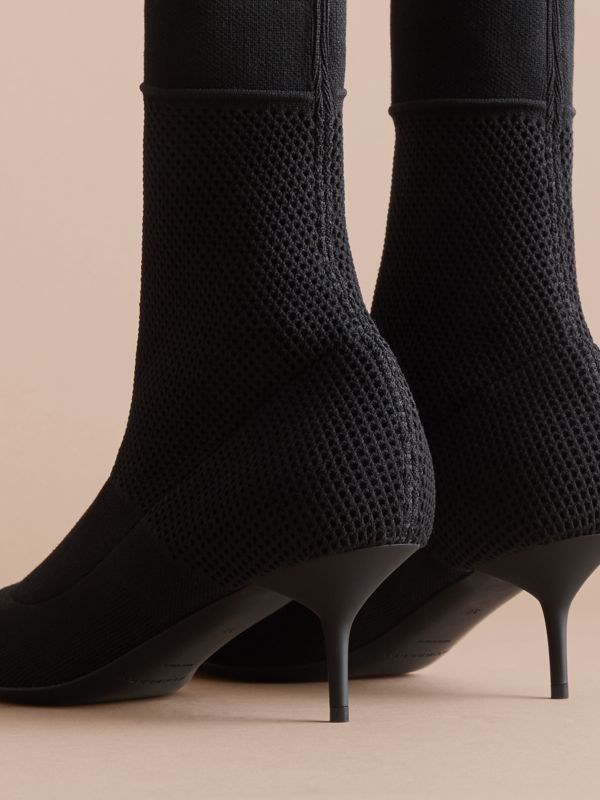 Mid-calf Knitted Mesh Detail Boots in Black | Burberry United States - cell image 2