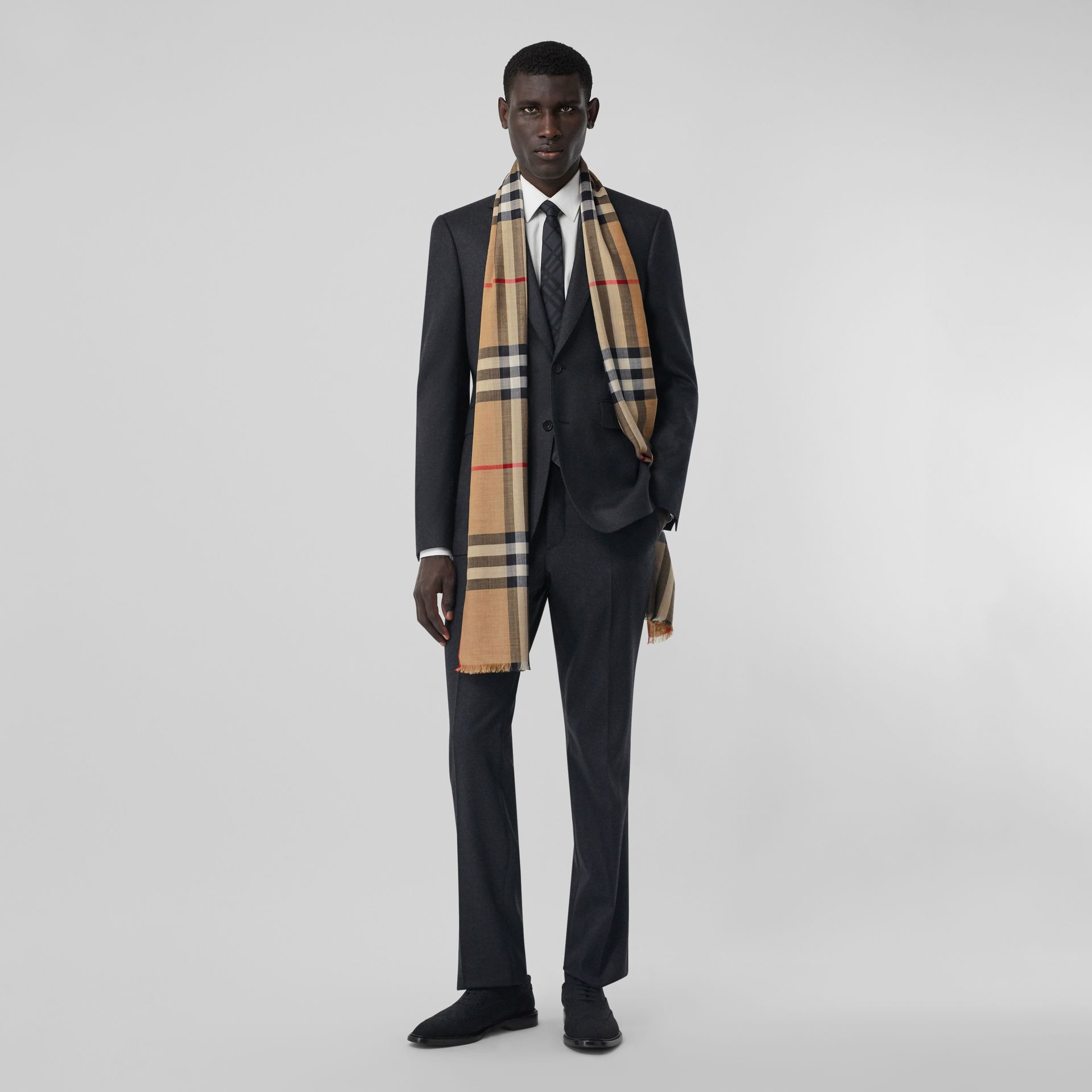 Lightweight Check Wool and Silk Scarf in Camel | Burberry - gallery image 7