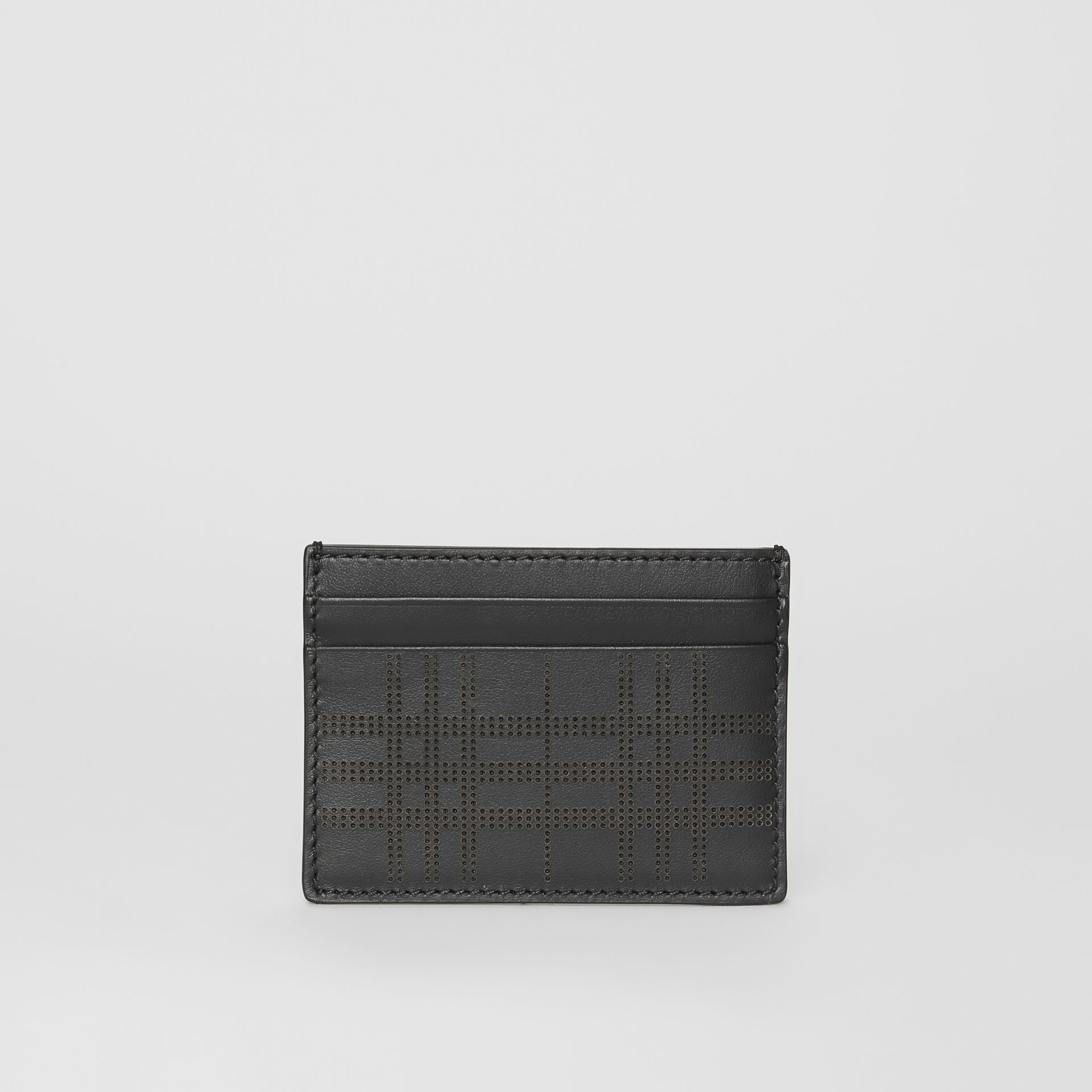Perforated Check Leather Card Case in Black | Burberry - gallery image 2
