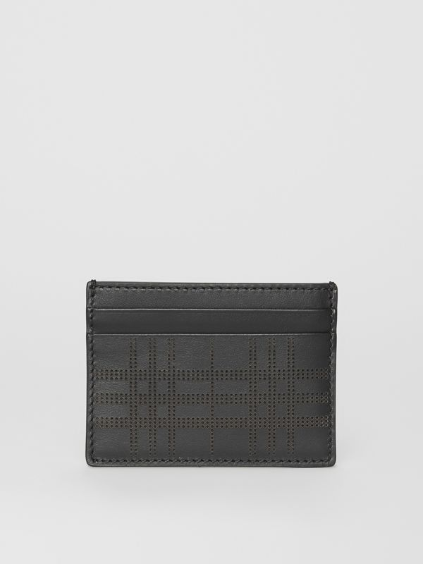 Perforated Check Leather Card Case in Black - Men | Burberry - cell image 2