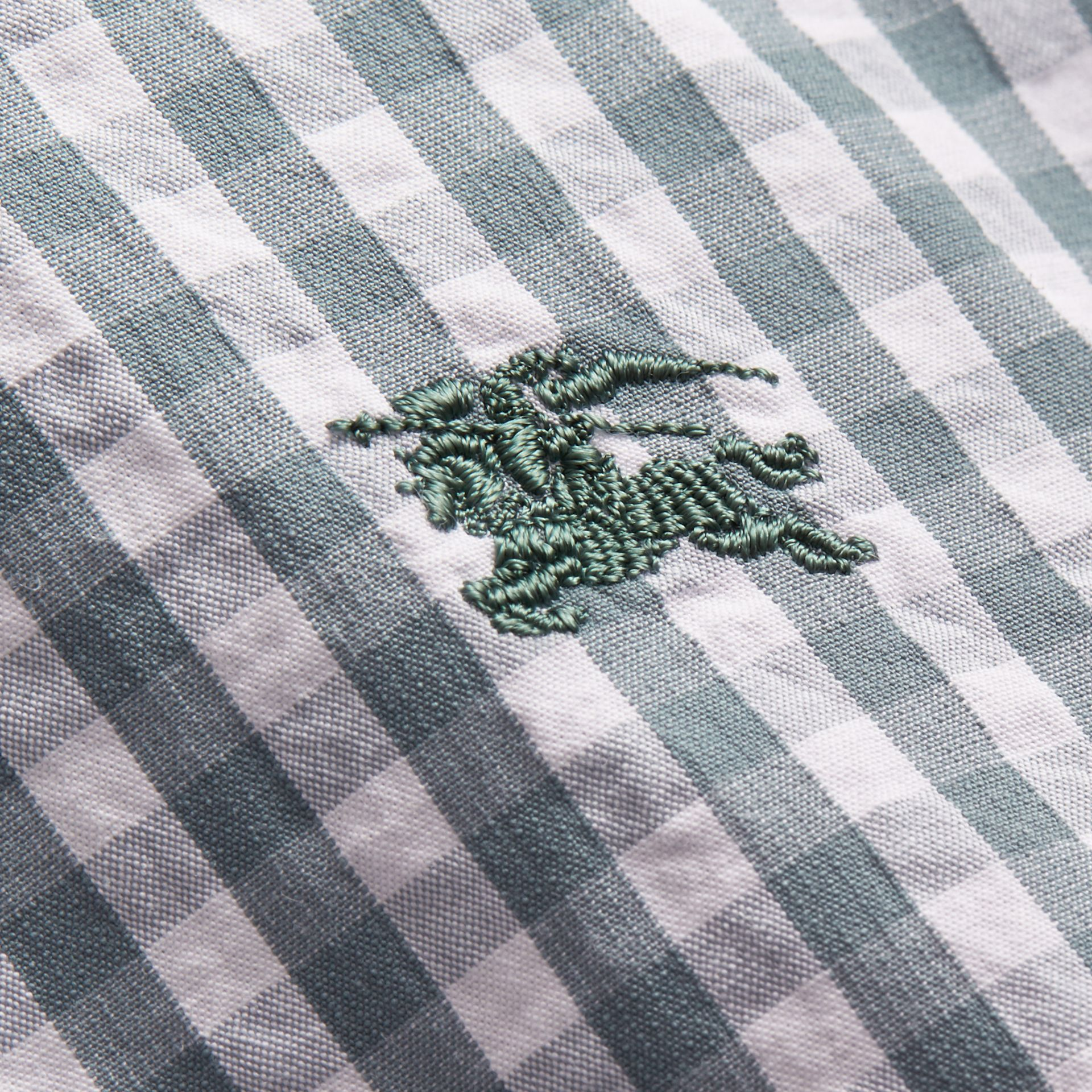 Short-sleeved Gingham Cotton Poplin Shirt in Dusty Teal Blue - Men | Burberry - gallery image 2
