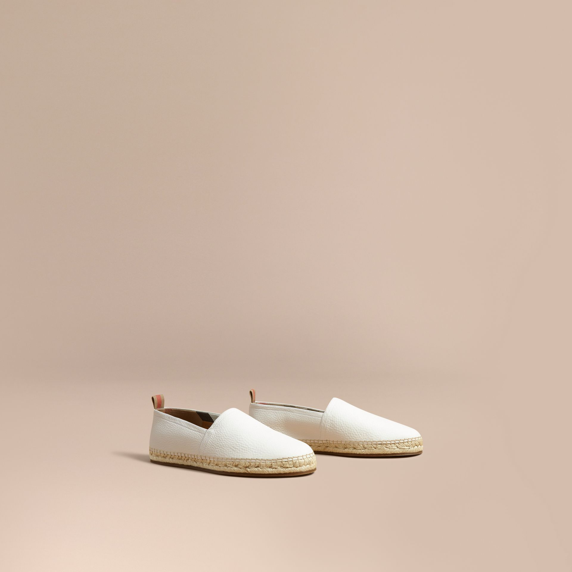 Check Detail Leather Espadrilles in Optic White - gallery image 1