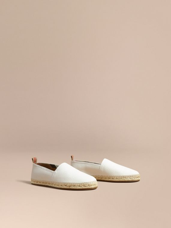 Check Detail Leather Espadrilles in Optic White