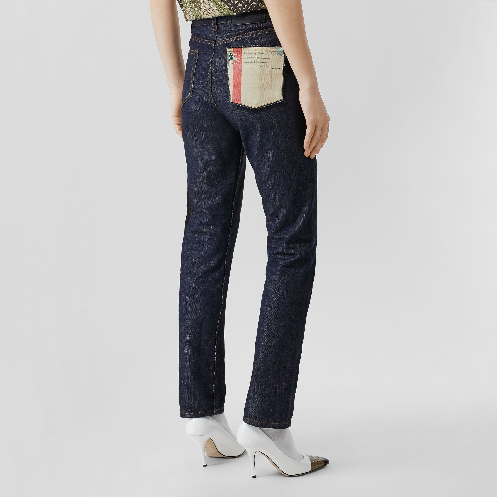 Straight Fit Japanese Selvedge Denim Jeans in Indigo - Women | Burberry - gallery image 2