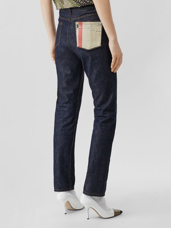 Straight Fit Japanese Selvedge Denim Jeans in Indigo - Women | Burberry - cell image 2