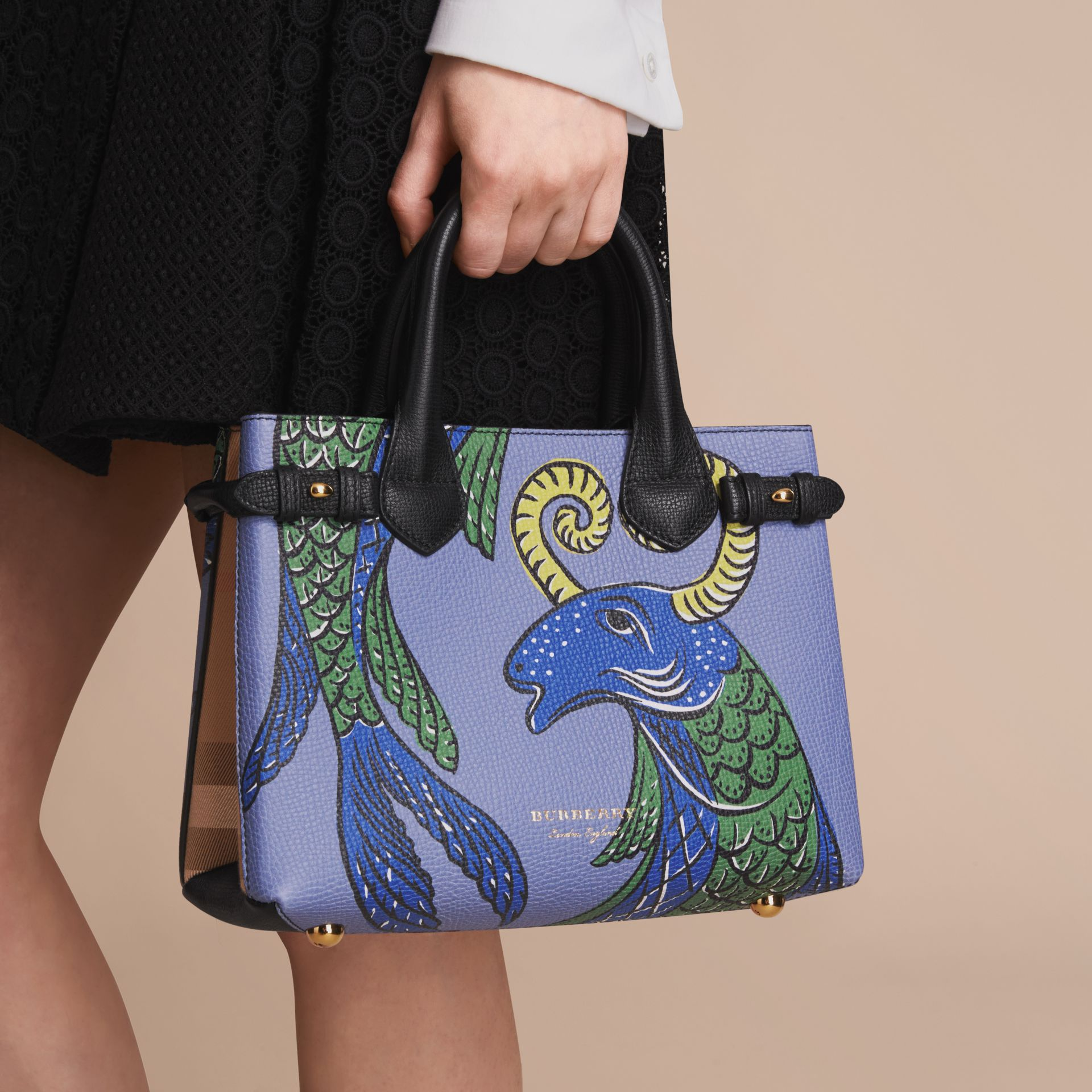 The Small Banner in Beasts Print Leather in Black - Women | Burberry Singapore - gallery image 4