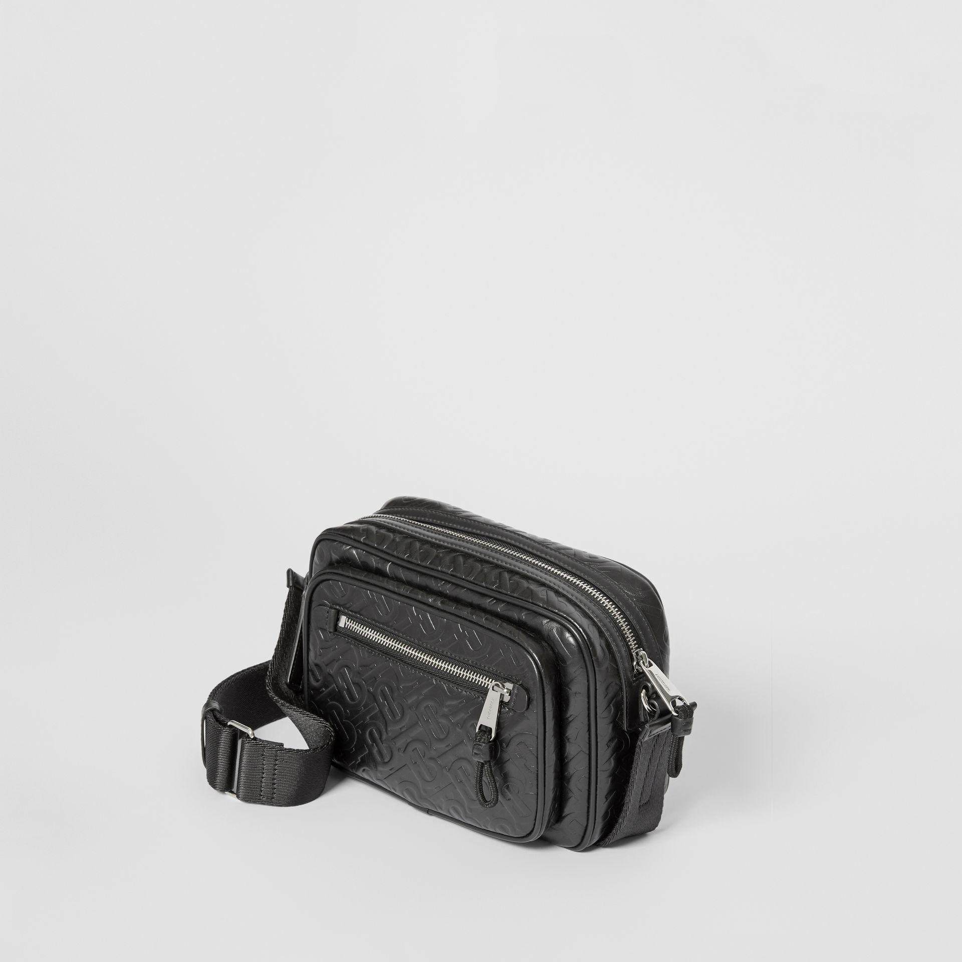 Monogram Leather Crossbody Bag in Black - Men | Burberry Australia - gallery image 3