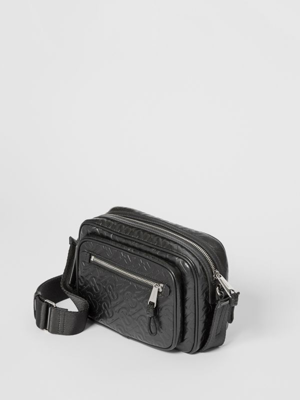 Monogram Leather Crossbody Bag in Black - Men | Burberry United States - cell image 3