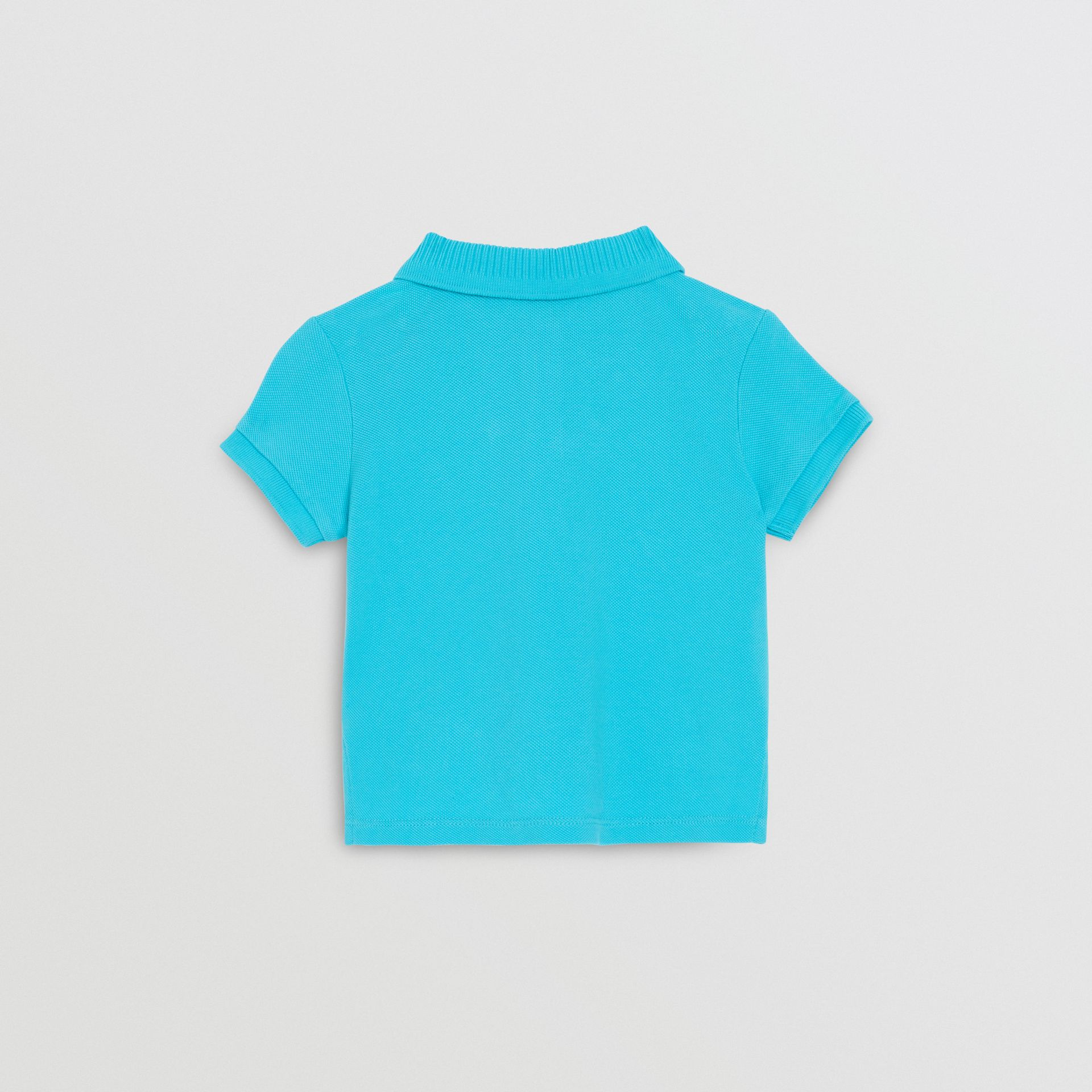 EKD Logo Cotton Piqué Polo Shirt in Bright Cyan Blue - Children | Burberry Hong Kong - gallery image 3