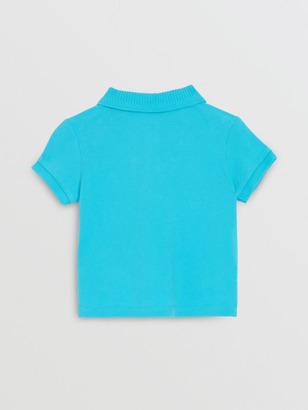 EKD Logo Cotton Piqué Polo Shirt in Bright Cyan Blue - Children | Burberry Singapore - cell image 3